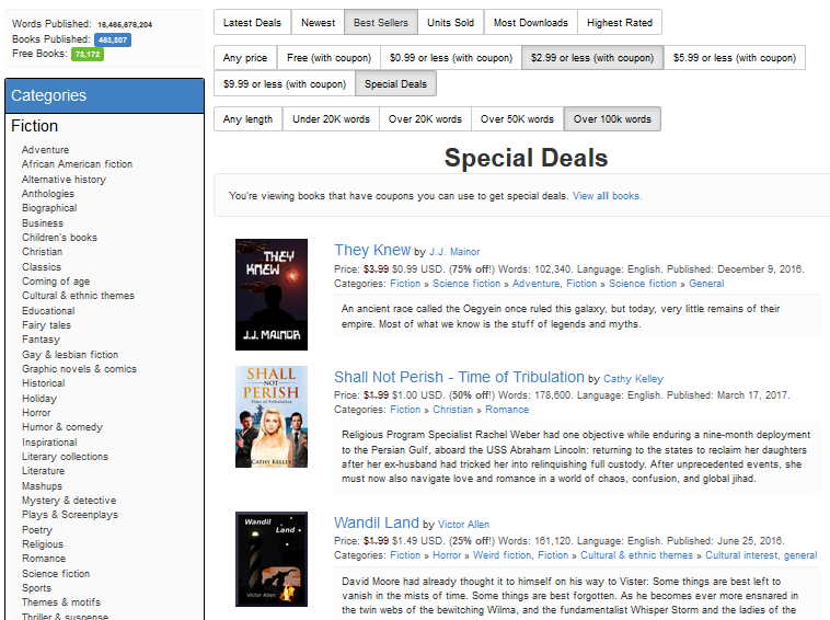 Smashwords smashwords introduces special deals automated in this screen shot the customer is filtering for bestsellers over 100000 words with special deals priced 299 or less fandeluxe Image collections