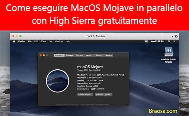 Come eseguire Mojave in parallelo con High Sierra gratuitamente sul tuo Mac