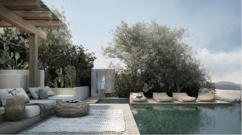 spazio outdoor con piscina