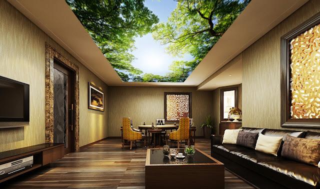 Trang trí không gian nội thất phòng khách chung cư bằng trần xuyên sáng