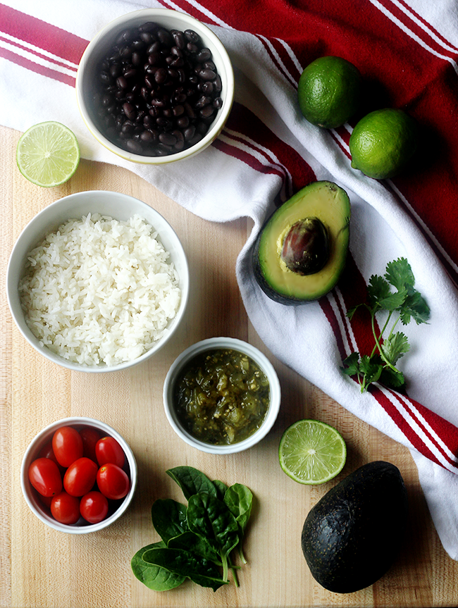 Black Bean, Avocado, and Rice Burrito Bowls