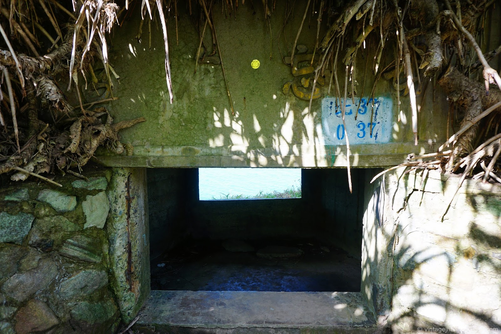 廢棄碉堡上寫著毋忘在莒,也是一個海景的好地方,就像是一個專屬的海景窗戶