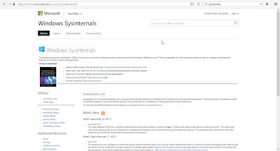 Gambar Situs web resmi Sysinternals