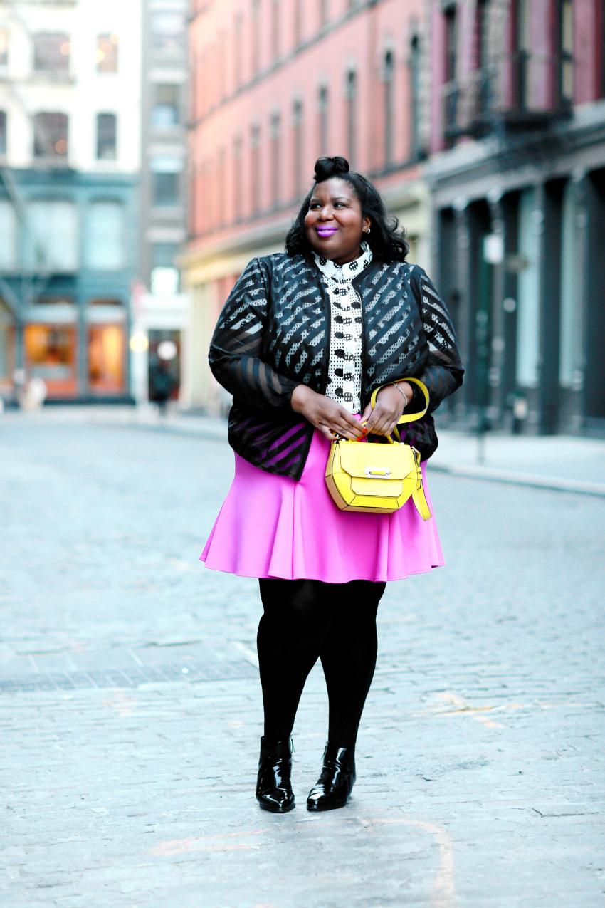 blogger pink skirt