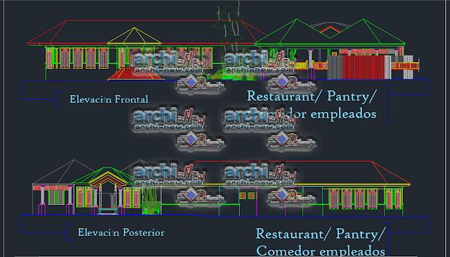 - الواجهات مشروع مطعم مقصف dwg