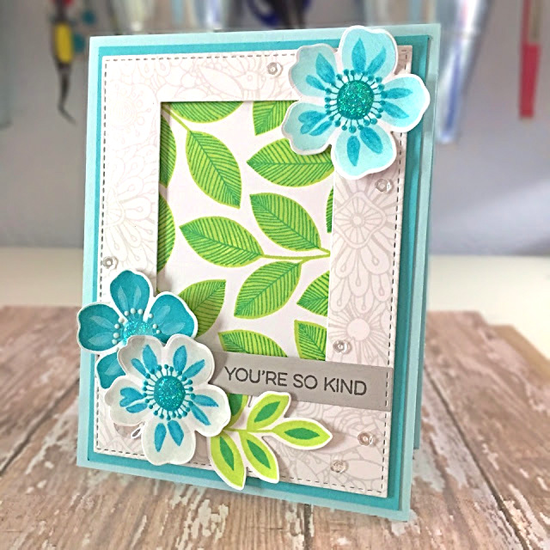 Flashy Florals stamp set and Die-namics, Bundles of Blossoms Background stamp, Double Stitched Rectangle STAX and Blueprints 29 Die-namics  - Carol Hintermeier #mftstamps