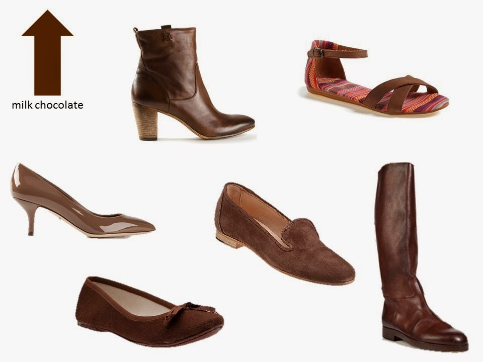 six classic shoe styles in milk chocolate brown
