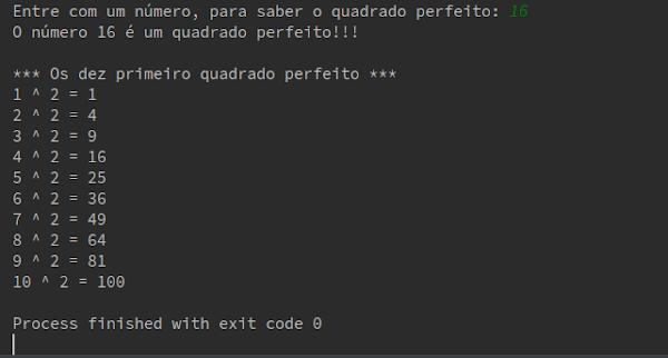 Resultado Script Python número quadrado perfeito