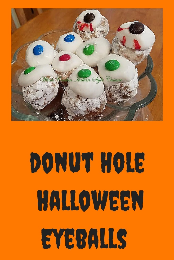 These are store bought donuts made into a spooky Halloween Treat like eyeballs for fun with M and M's on the middle of the frosting used for the pupils of the eyes