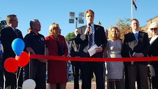 U.S. Rep. Joseph Kennedy III speaking at the recent ribbon cutting for downtown Franklin