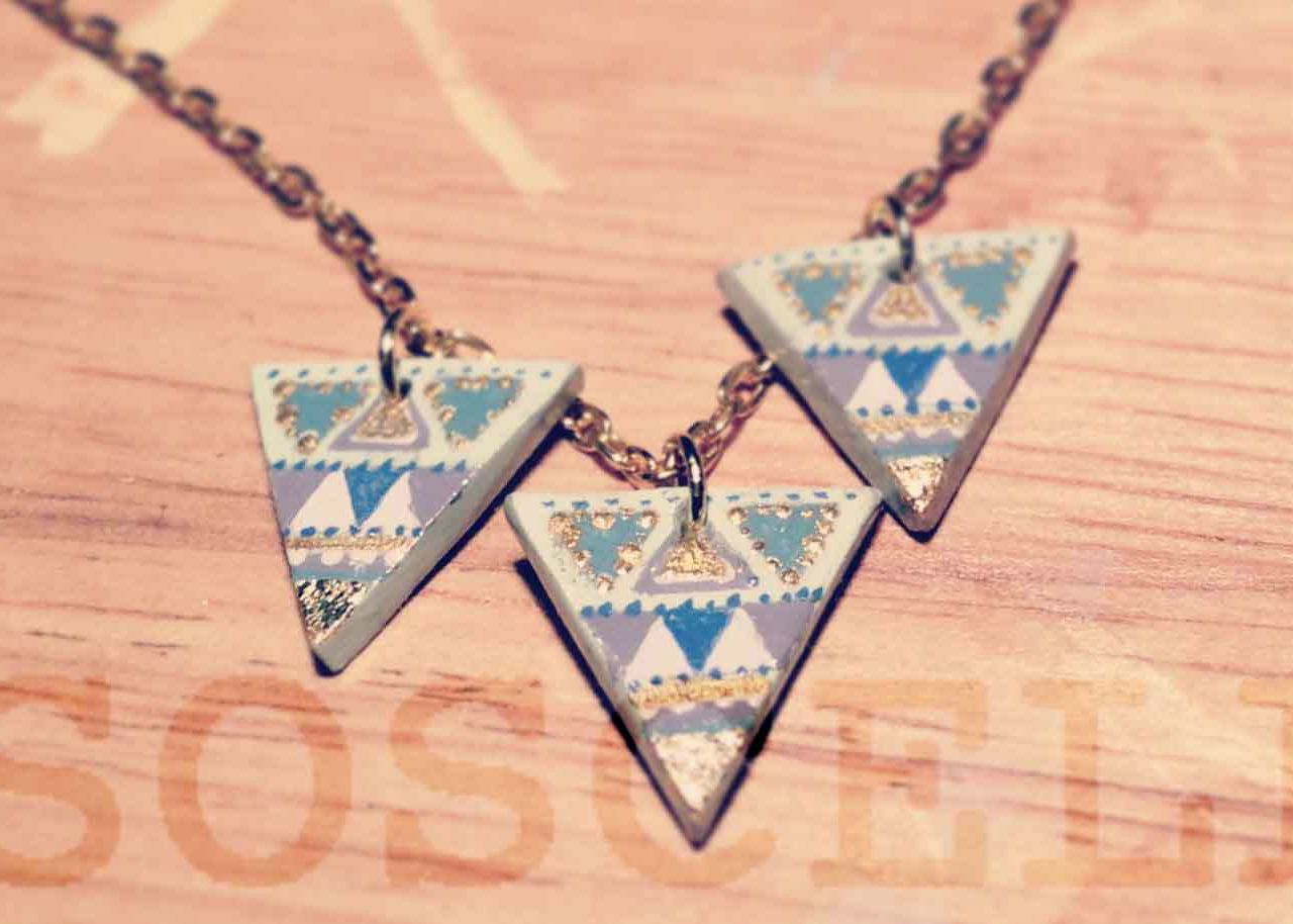 Craft handmade polymer clay bunting necklace