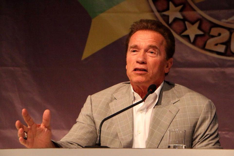 Arnold Schwarzenegger na coletiva do Arnold Classic Brasil 2016. Foto: Levy Ribeiro / Divulgação
