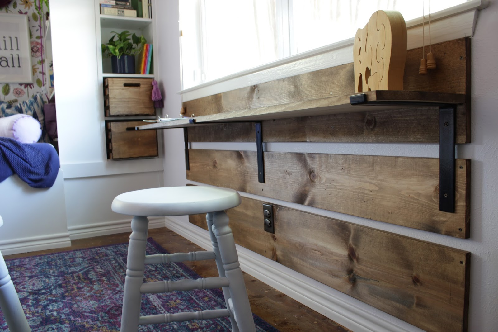 House Homemade DIY Kids Desk With Shelf Brackets
