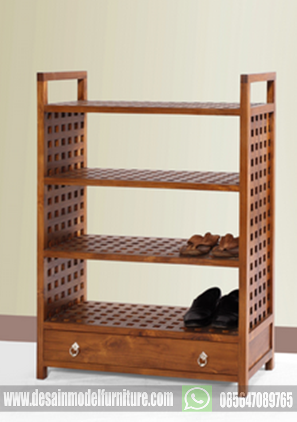 Jual rak sepatu minimalis kayu jati asli