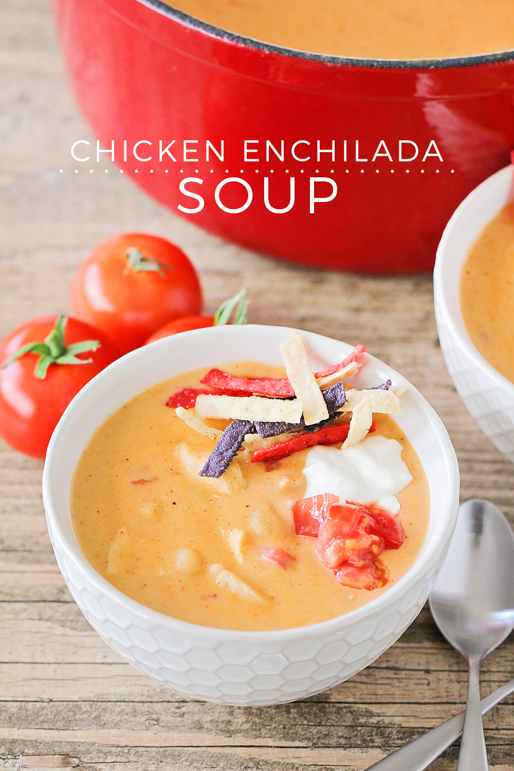This savory and cheesy chicken enchilada soup is incredibly flavorful and easy to make too!