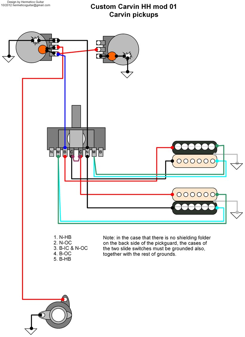 carvin humbucker pickup wiring diagram
