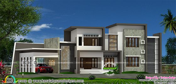 2515 square feet 4 bedroom sober colored contemporary house in Kerala