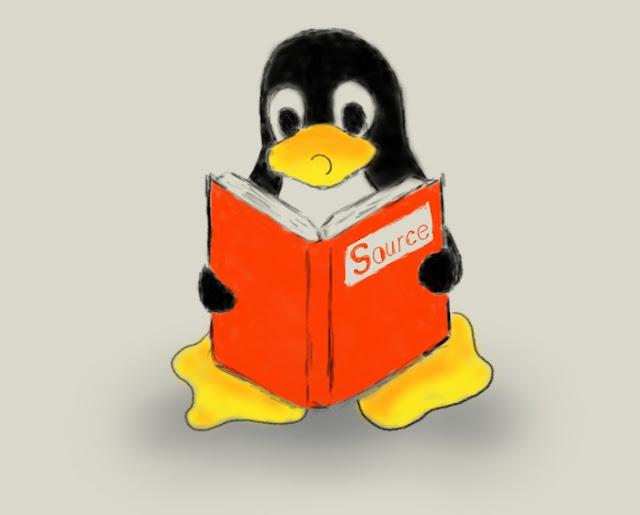 Imagem: Tux lendo o código fonte - Desenhado por Phelipefox