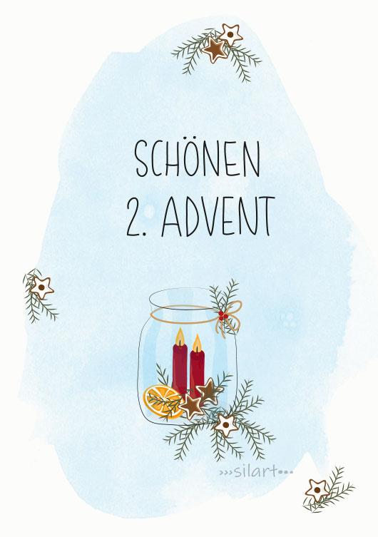 Schoenen 2. Advent, Lieben Gruss, illustrierte Karte