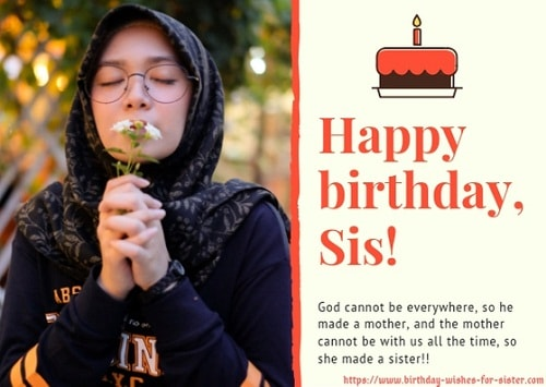 birthday message for sister