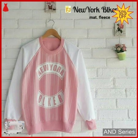 AND259 Sweater Wanita Newyork Biker Pink BMGShop