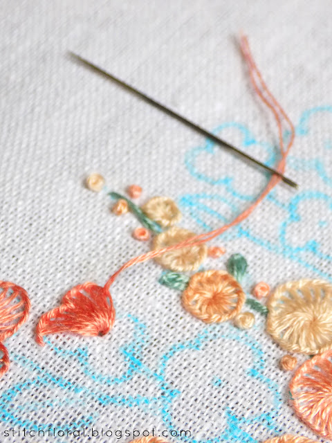 Buttonhole stitch: when the thread ends