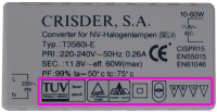 Symbols and marks on electronic transformer