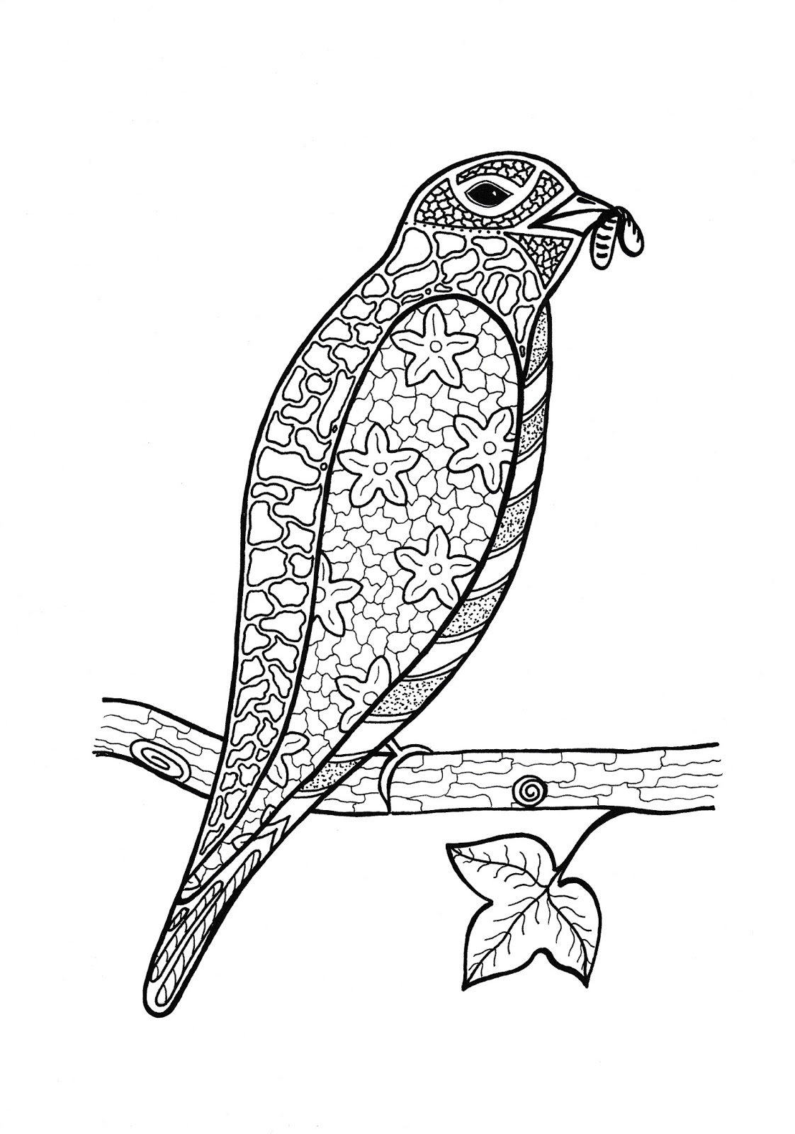 Better Budgeting: Free Coloring Pages: Bird on Tree Branch