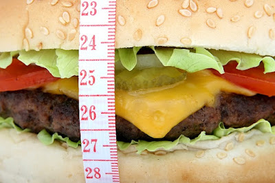 Hamburger with tape measure wrapped around it