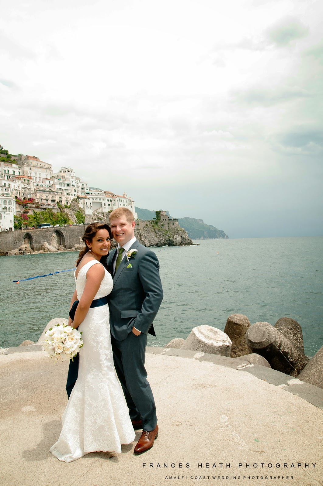 Bride and groom at their wedding in Amalfi