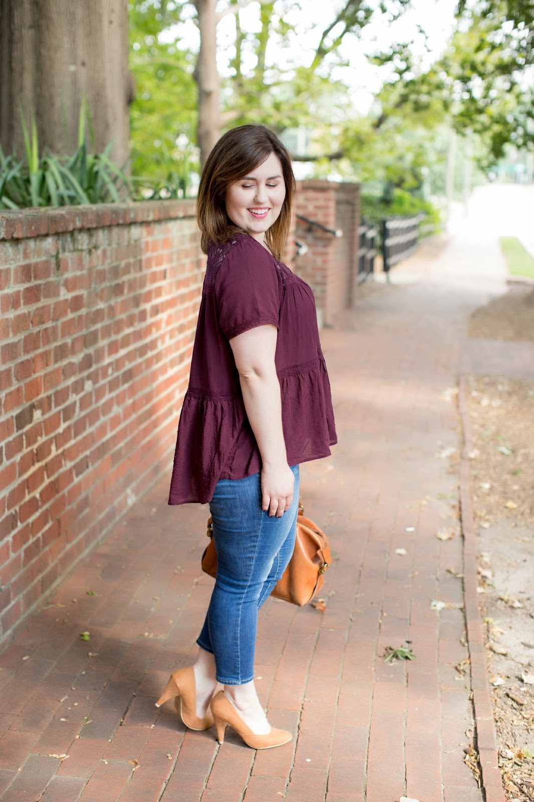 Rebecca Lately Fall Fashion Maroon Top Rockstar Jeans Cognac Heels Madewell Kensington