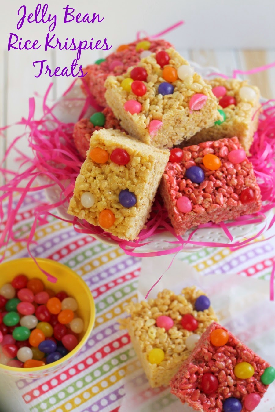 These easy to make and colorful Jelly Bean Rice Krispies Treats combine two family loved classics into one perfect sweet treat for Easter or spring.