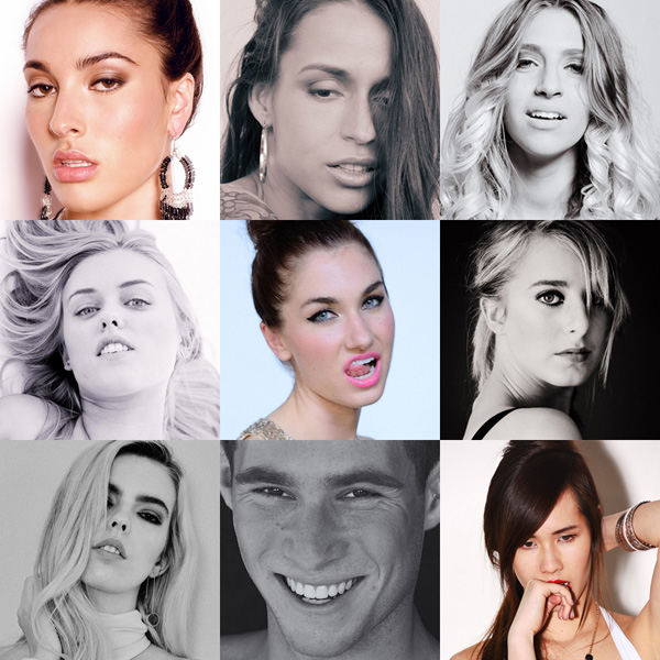 Composite of nine modelling portfolio headshots by Kent Johnson, photographed in the studio, Sydney Australia.