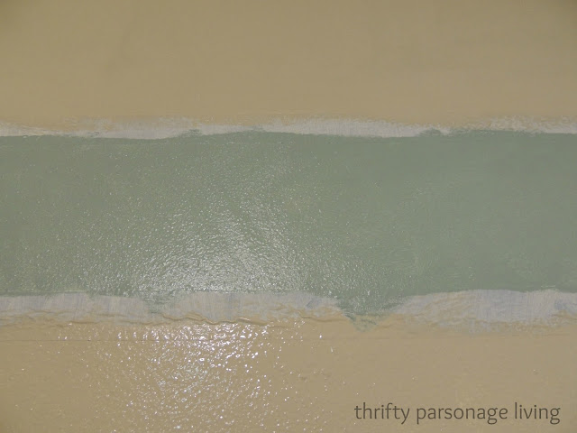 Thrifty parsonage living painting horizontal stripes on - Eggshell paint on walls ...