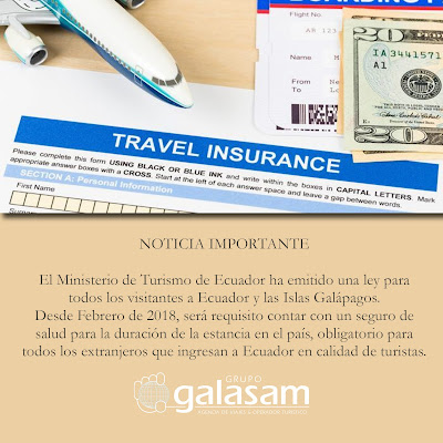 Turistas que visitan Ecuador requieren seguro de salud |  Tourists visiting Ecuador require health insurance