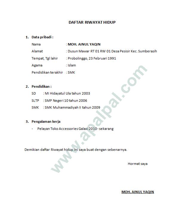 Contoh Curriculum Vitae (CV) Terbaru yang Menarik