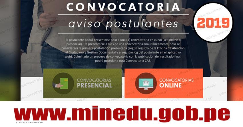 MINEDU: Convocatoria CAS Mayo 2019 - Más de 100 Puestos de Trabajo en el Ministerio de Educación [INSCRIPCIÓN DE POSTULANTES] www.minedu.gob.pe