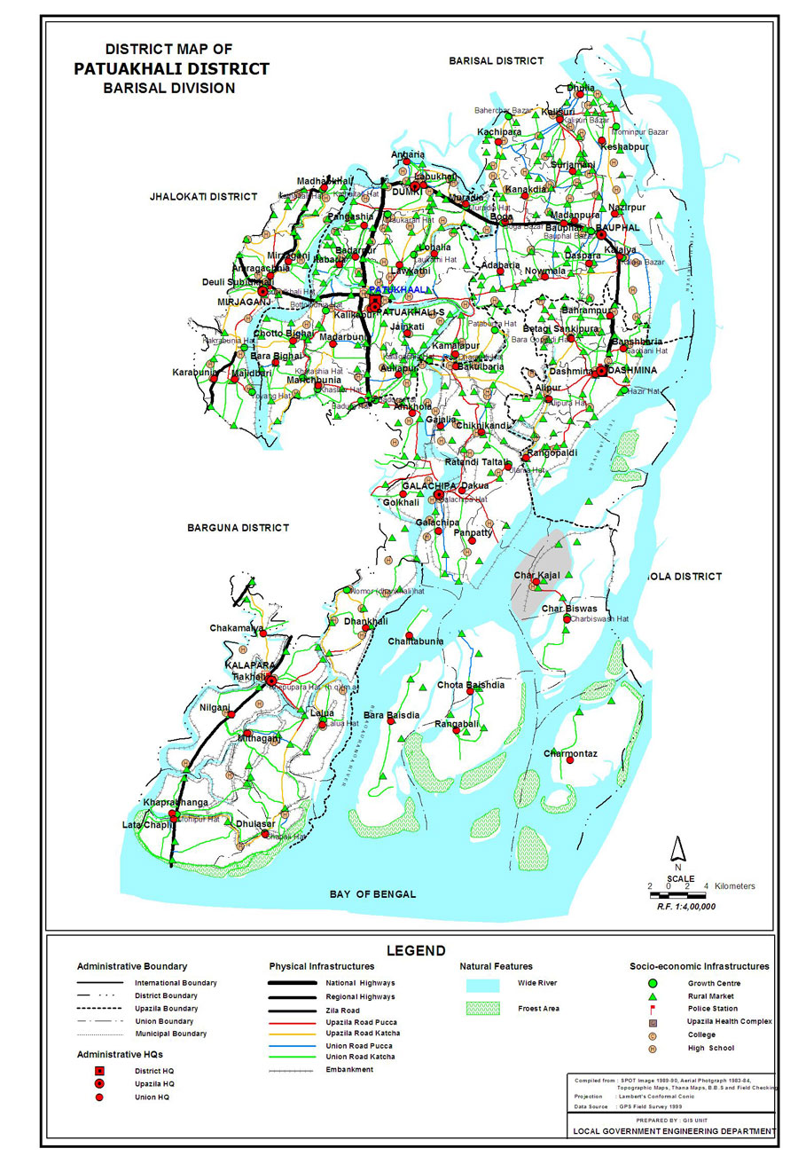Patuakhali District Map Bangladesh