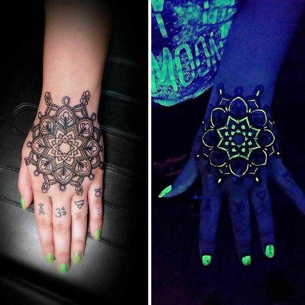 #3. A beautiful mandala. - 30 Glow-In-The-Dark Tattoos That'll Make You Turn Out The Lights.