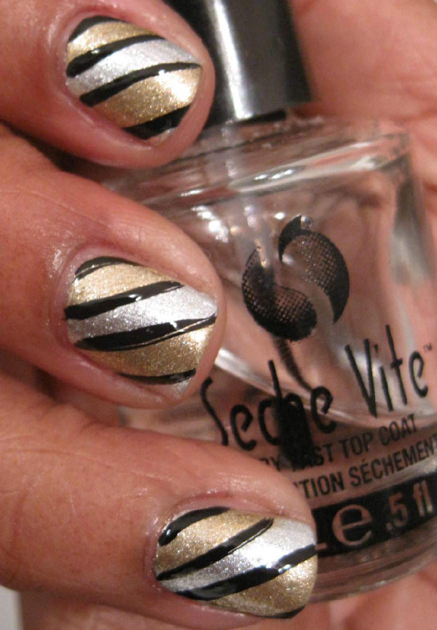 Karine's Vernis Club: Gold and silver nail art - Tutorial