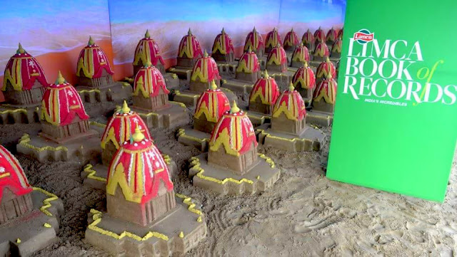 """100 Sand Chatiots"" for ‪#‎RathaJatra‬ is officially confirmed a World Record by Limca Book of Records. Limca Book of World Record - Sudarsan Pattnaik Creates 100 Sand Chariots (Rath) For Rathyatra 2016"