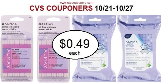CVS deal Get CVS Almay Remover Toweletts $0.49 10/21-10/27