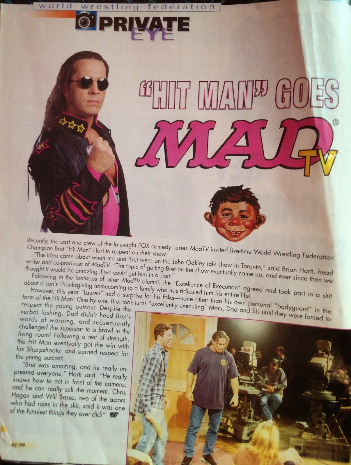 WWF MAGAZINE - JANUARY 1998 - Bret Hart on MadTV