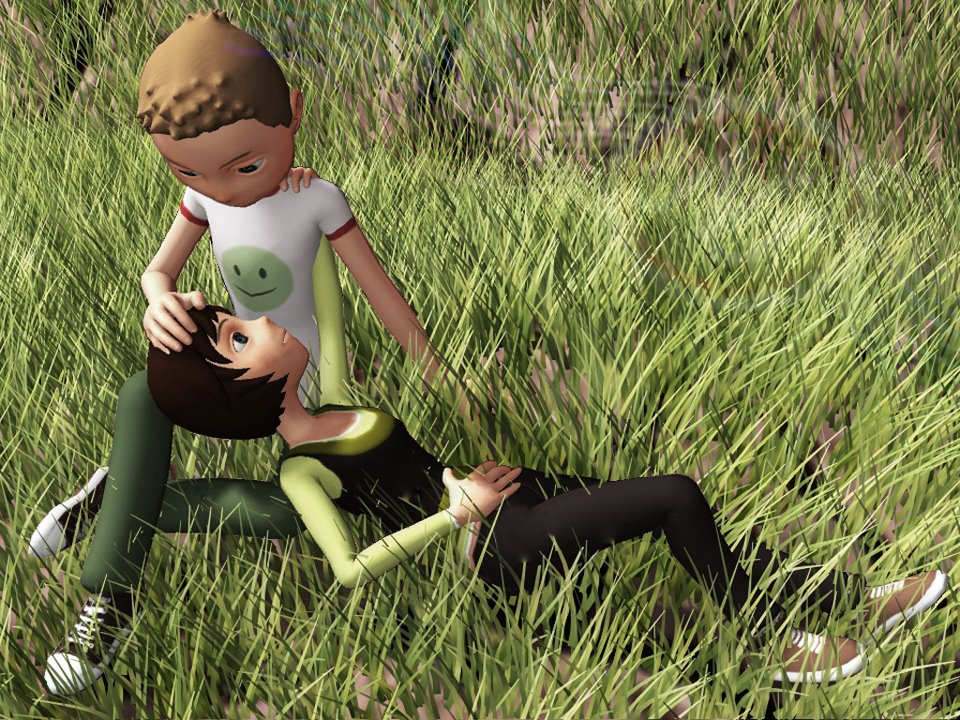 Couple romancing resting on grass land- animation image