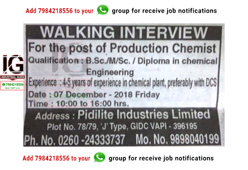 Industrial Guide Pidilite Industries Walking Interview At 07th December For Production