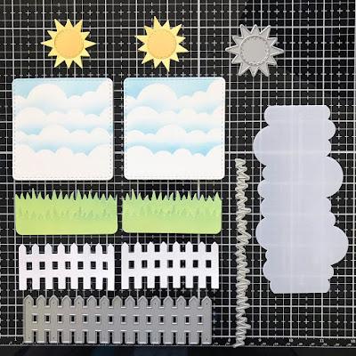 Card Set by June Guest Designer Amy Tollner | Sky Scene Builder Die Set, Clouds Stencil Set, Frames Squared Die Set, Land Borders Die Set and Fence Die Set by Newton's Nook Designs #newtonsnook #handmade