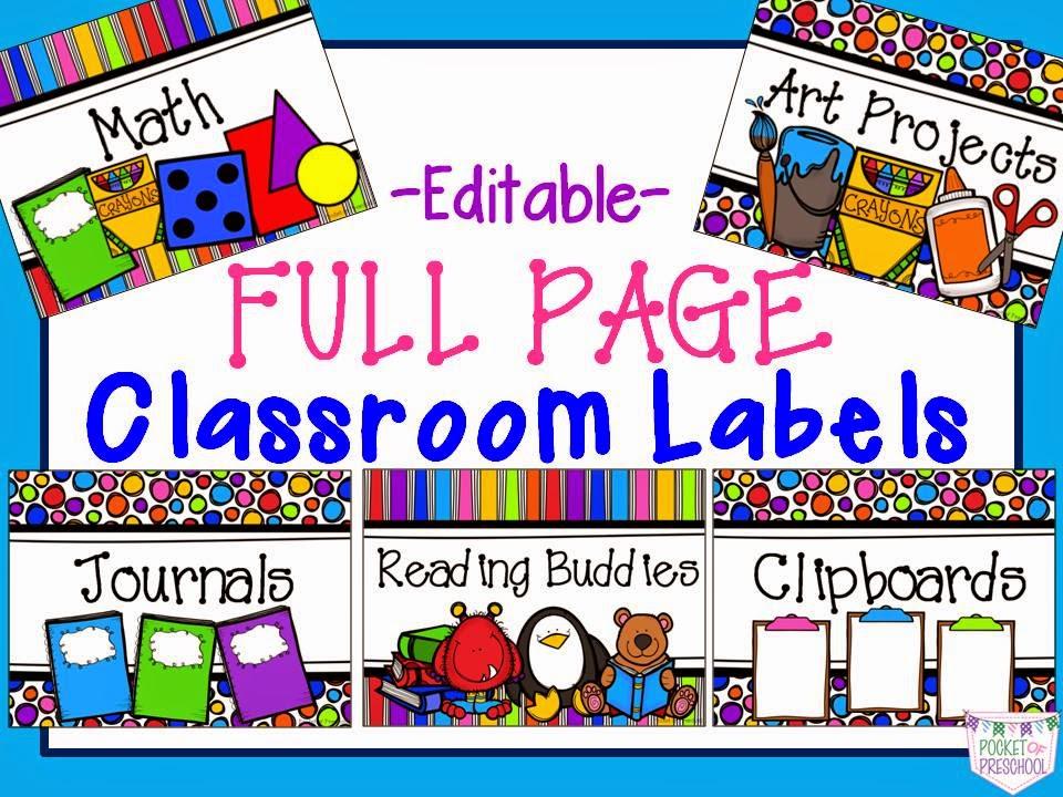 Large classroom labels pocket of preschool for Room labels