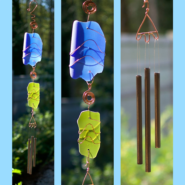 Artist-made sea glass with handcrafted brass chimes: Coast Chimes