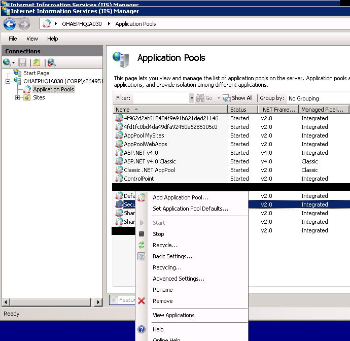 Procedure for manual application pool restart in IIS | $ServerName