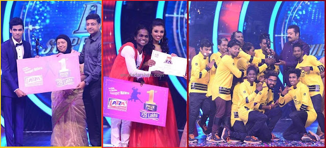 winners of D3 in the solo, pair and group category of D4dance on Mazhavil Manorama